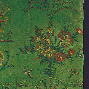 Arabesque paper with Priestess of Venus pouring libations, under bower supported by doves and suspended crossed arrows. The figure stands on a lambrequin, with floral scrolls, floral swags and bead swags, and floral bouquets. Printed in twelve colors on green ground.
