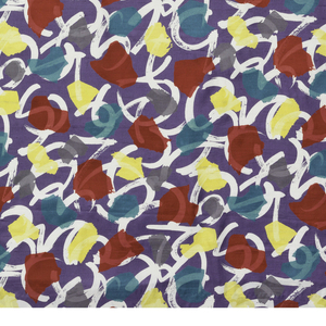 Red, yellow and teal shapes printed over white brushstroke squiggles on a dark purple background