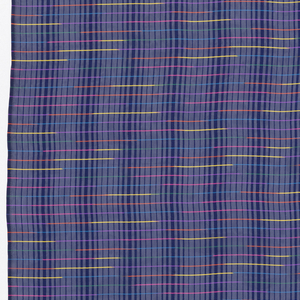 Dress fabric showing narrow bands of bright color on a background of dark and light (opaque and transparent) navy stripes.