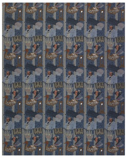 Rows of ten images related to the history of digital culture, including a portrait of Jacquard, punch cards, a guillotine, an automaton, a design for a prosthetic hand, and microchip, binary code.  Predominately woven  in shades of blue, grey and brown with metallic gold and silver.