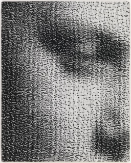 Small portrait showing a woman's eye and nose, resembling an out-of-focus black and white photograph. Study for Binary Traces: Kay (2007-33-1).