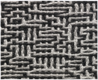 Woven textile showing a blown-up image of four-centimeters of Binary Traces: Kay (2007-33-1). Labyrinthine lines in white on a black ground.