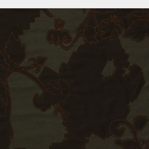 Dark green ground appliquéd with a dark brown layer. Large areas of the brown layer have been cut away and are stitched to the ground fabric in a stylized floral pattern using bright red thread.