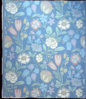 Closely set flowering branches and stems in drop repeating arrangement. Straight across match. Printed in nine colors on embossed blue ground.