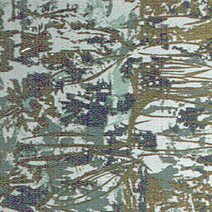 Non-representational spatter design with daubs of gold, blue and green in random arrangement. Printed on pale blue ground.