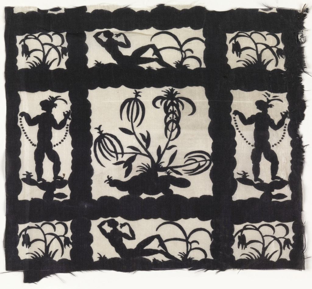 Silhouetted forms of standing and reclining figures with exotic foliage, within a lattice framework; in black on white.