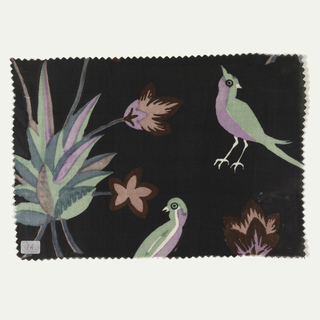 Large scale pattern of exotic foliage and birds in light green, light purple, pink, mauve, dark red, and white on a black ground.
