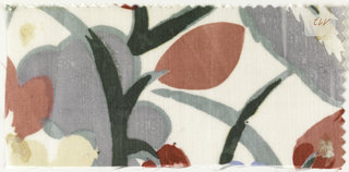 Pattern incomplete. Large-scale floral in light gray, light green, dark pink and dark red on ivory.