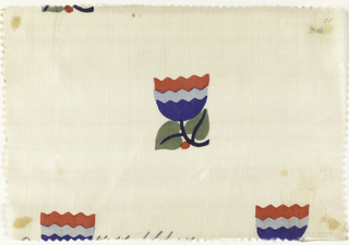 Highly stylized tulip in dark pink, blue, light blue, and green in offset repeat on an ivory ground.