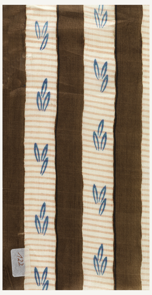 Even, vertical stripe of chocolate brown alternating with ivory and pink in a subtle horizontal stripe; small blue abstracted leaves in the ivory bands.