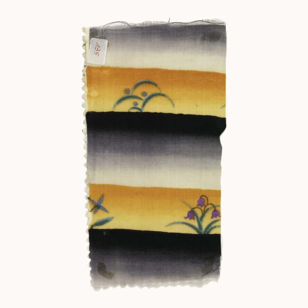Uneven stripe: wider bands ombre from black to pale gray, narrower bands ombre from dark to light orange. In orange bands, scattered floral patterns in green and purple.
