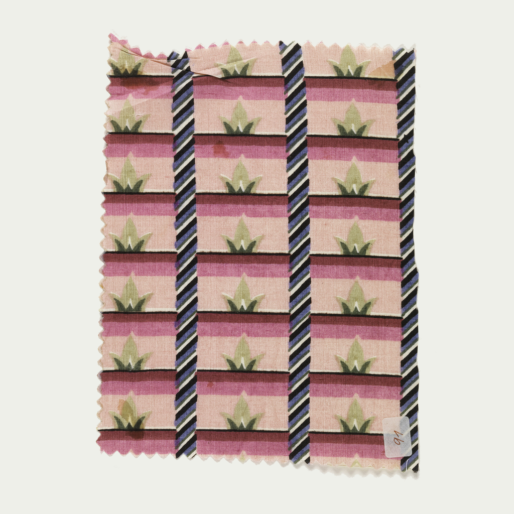 Uneven horizontal stripe of dark, medium and light pink with narrow stripes of black and white, with small vegetal forms in dark and light green. Intersected with vertical bands, diagonally striped in black, white, blue and green.