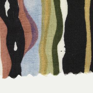 Very irregular, wavy stripe. (a) black, light purple, light blue, green, light green, ochre, pink and white; (b) light blue, light green, yellow, rust, orange, pink and white.