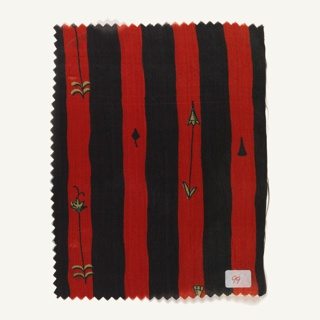 Even stripe with hand-drawn quality, with sparse, spindly floral forms in the colored stripes. (a) black and red stripe with green floral elements; (b) black and ochre stripe with purple floral.