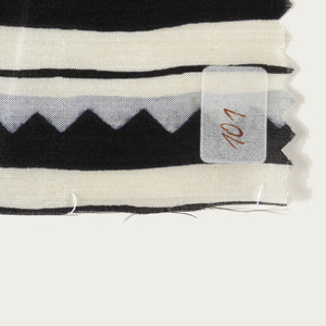Stripe with a zigzag band; (a) brown, taupe, and light pink; (b) black, light blue, and ivory; (c) black, ochre and ivory; (d) black, gray and white.