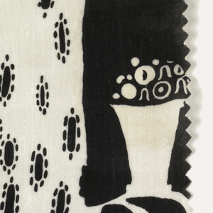 Pattern incomplete. Large-scale uneven stripe. Narrow black bands have curving lines; wider black bands have a female figure in a white dress with black pattern and two baskets of flowers. Black and white.