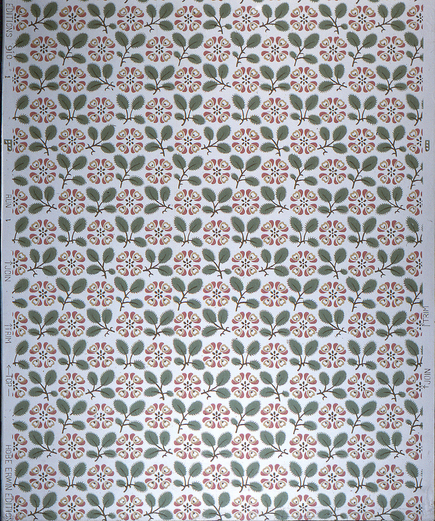 Rows composed of pine and evergreen sprigs alternating with stylized daisy form. There are several variations of the pine sprigs which give variety to the rows. Documentary wallpaper in the Hobe Erwin line.