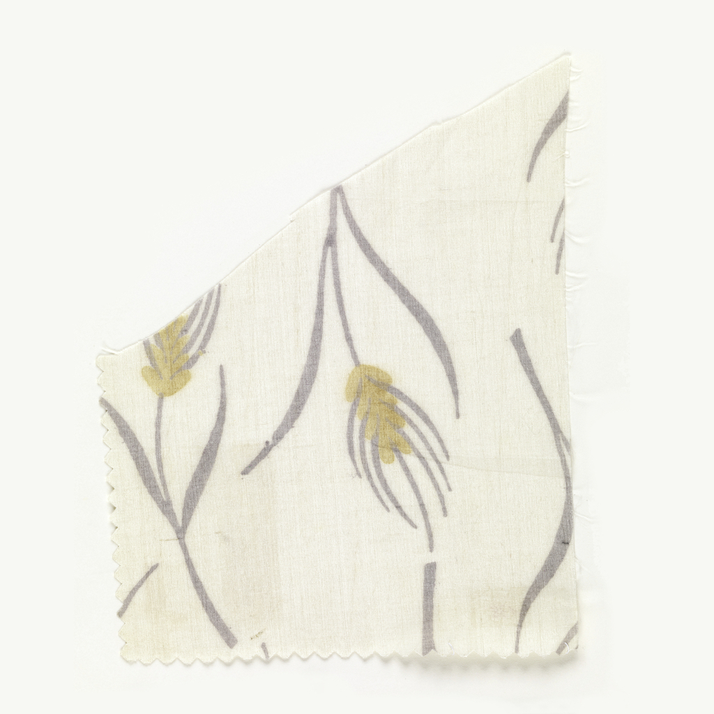 Delicate pattern of stalks of wheat in ochre and light gray on ivory.