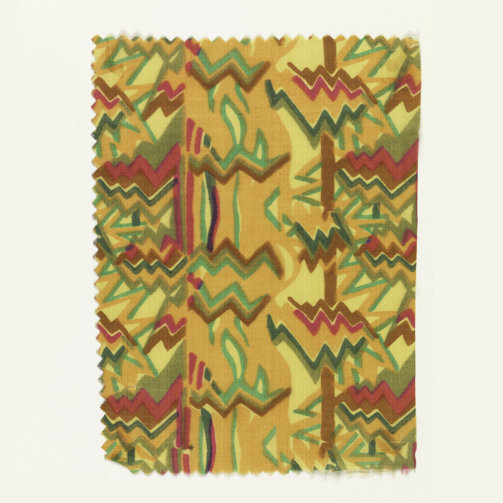 Abstract pattern incorporating many zigzag lines; (a) brown, olive, dark green, light greet, orange, and bright pink on yellow; (b) dark gray, light gray, brown, violet, and bright pink on ivory.