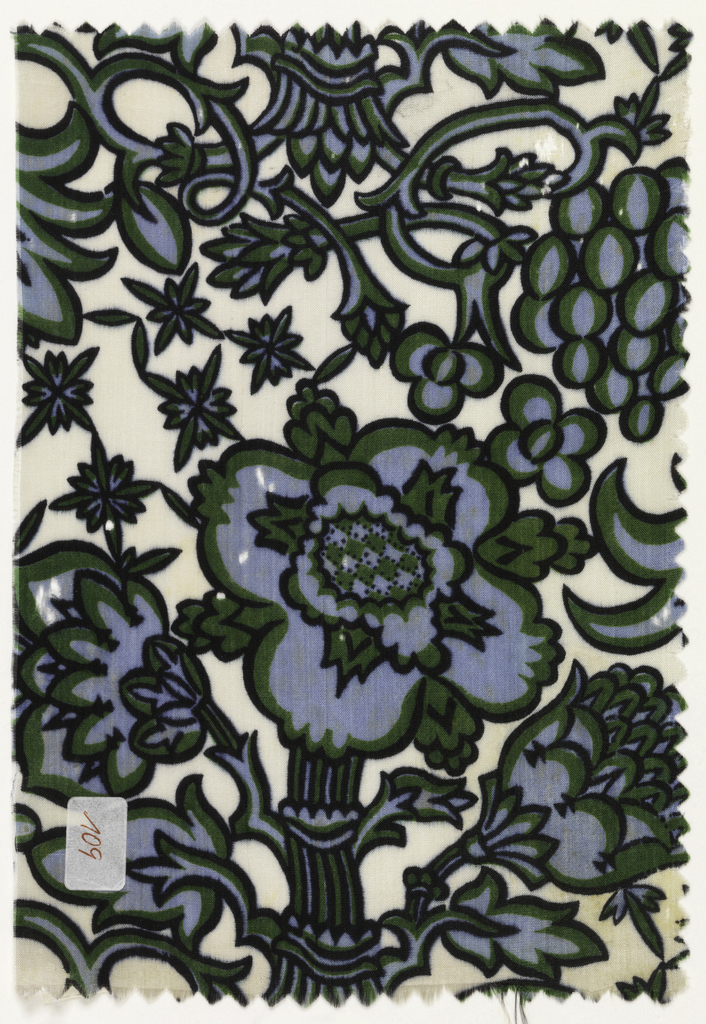 Floral pattern in blue and green with black outlines on an ivory ground