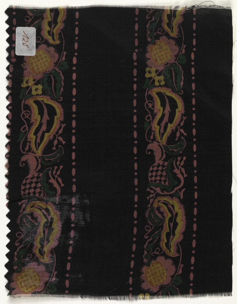 Paisley strip in green, ochre, and hot pink on a dark brown ground