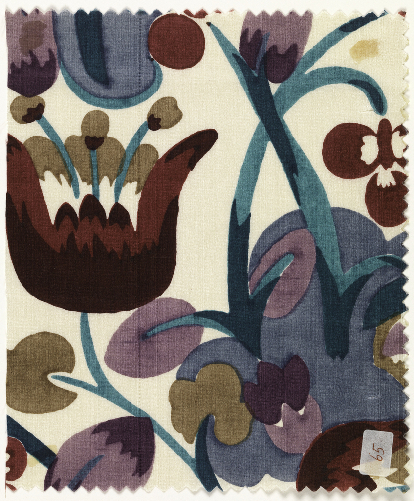 Floral pattern of tulips in dark purple, light purple, dark green, light green, blue, tan, dark red and light red on ivory