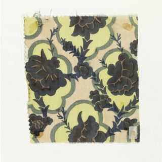 Japanese-style floral pattern with chrysanthemums in dark brown, light brown, dark green, dark blue, and yellow on a peach ground