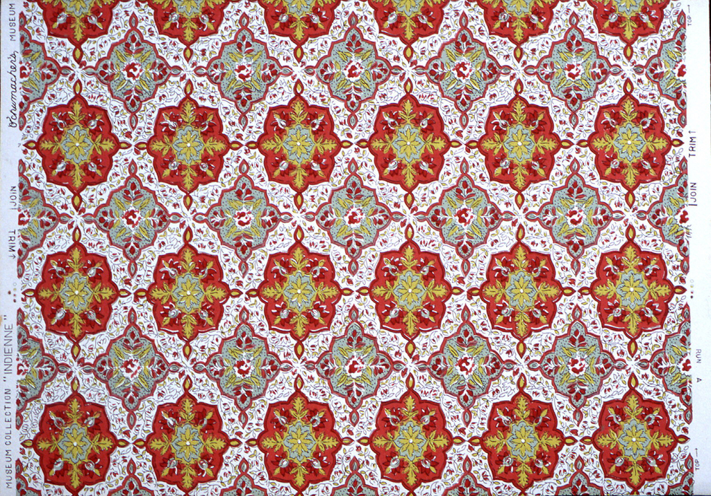 Horizontal rows of approximately octagonal medallions, red, with yellow and gray, with yellow and red foliate adornment, which are in drop-repeating, almost interlocking relationship with the former. These rows alternate with rows of smaller medallions, gray, with yellow and red foliate adorn- ment.