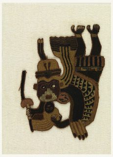 Figure of a dancer with head bent far backwards. Elaborate headdress. Small mask hangs from chin. Staff in hand. Cotton plain weave cloth solidly embroidered in tan, white, red, black, green, dark and light blue, brown and purple. Possibly once part of a large mantle.