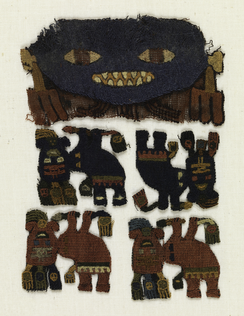 a) Blue face with yellow eyes and sharp triangular teeth, elaborate ear ornaments. b, c, d, and e) Four small flying masked figures holding trophy heads.