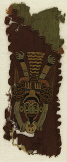 Embroidery in strong colors covering entire surface.  Winged figure holding trophy head.