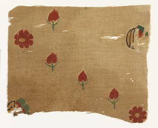 Tapestry woven fragment showing scattered red tulips and flowers with eight petals on an undyed ground.