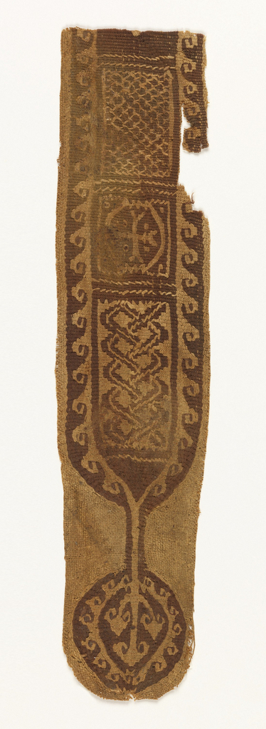 Woven linen and wool tunic ornament showing a Coptic cross between borders of advancing waves, and a roundel with three-pronged motif at center.