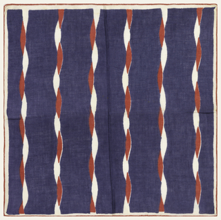 A red and white cord-like stripe on a navy background. Narrow white border.