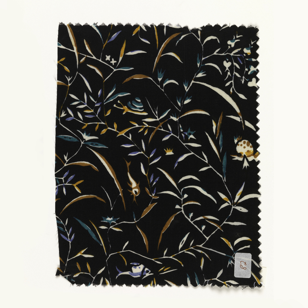 Small scale pattern of fish, turtles and snails among plant forms; blue, green, brown, yellow and white on black.