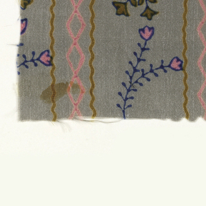 Floral stripe in blue, ochre and bright pink on gray.