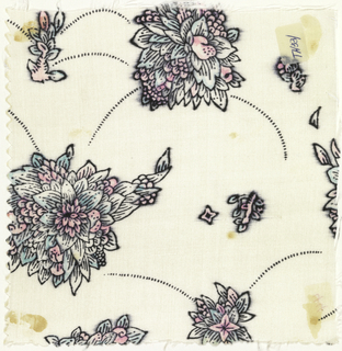 Floral pattern in three colorways, a) dark brown, light brown, green and white on black; b) dark brown, tan, green and pink on black; c) black, green and pink on white.