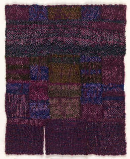 Composition of irregular bands and rectangles of blue, purple, burgundy, magenta, and mauve, diverging into three pendants at the bottom. A supplementary mauve warp creates a veined surface texture.