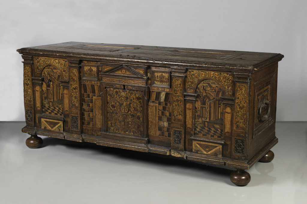 Marquetry chest and lock