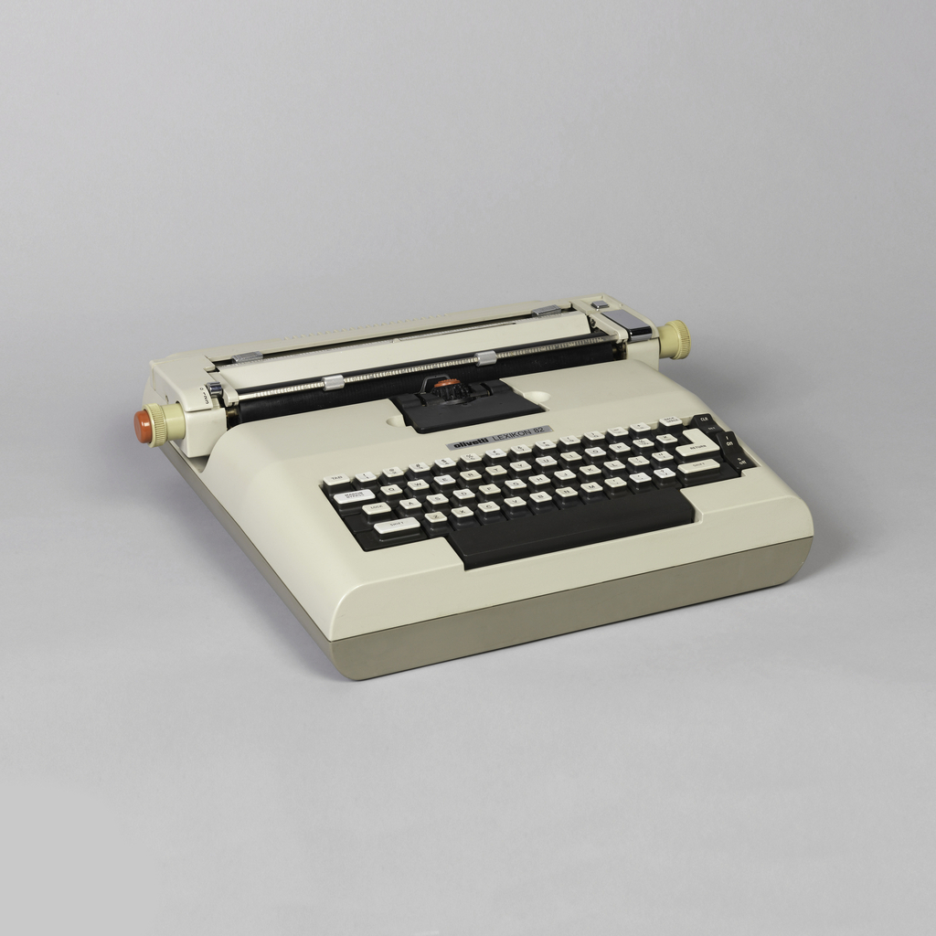 "First electric portable typewriter to use a ""golf ball"" moveable printing element.  To keep width to a minimum, it has moveable carriage and fixed typing point; ball element pivots and types while staying in place."
