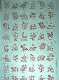 Medallions of animals taken from heraldry alternating with plants and trees taken from the same source. These are outlined and embellished in red line. Gold vine tendrils connect the motifs and partially enframe them. Gold birds and insects scattered at random. Printed on green ground.