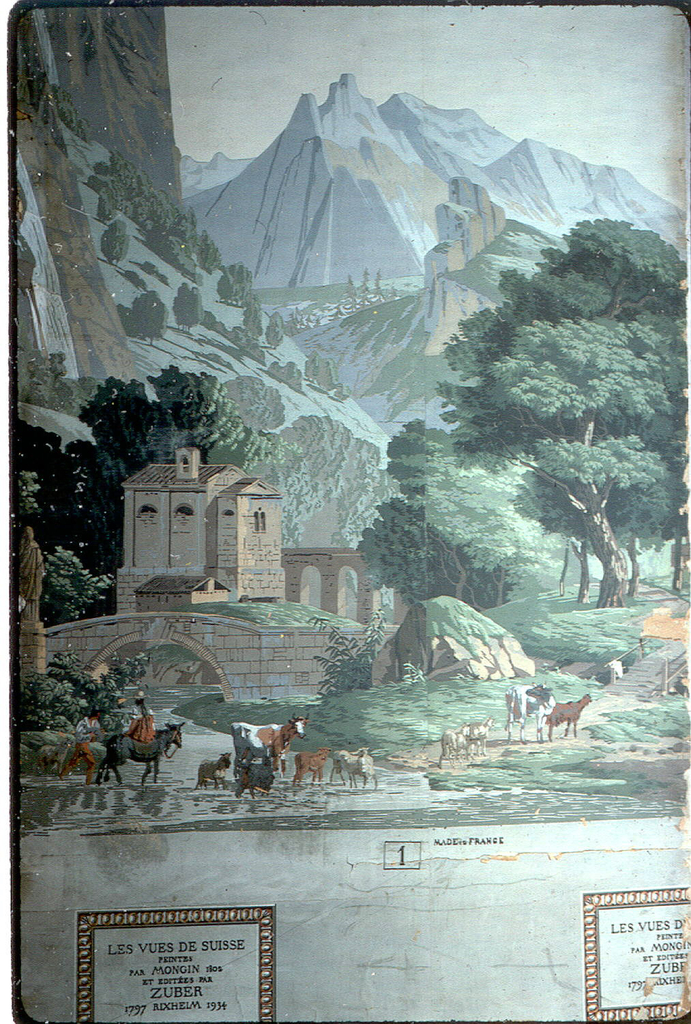 High mountains in the distance. In the foreground a stream being forded by goats, sheep, a cow and two peasants, one of whom rides a mule. In the middle ground, at left, a bridge and behind that a chapel. At the right of the latter is seen part of an aquaduct. Large trees at far right.
