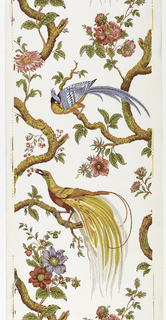 a) Two large tropical birds with fantastic tails, one predominantly blue and perched on vertically continuous tree with green foliage, pink and lavender flowers, cherries on white ground.