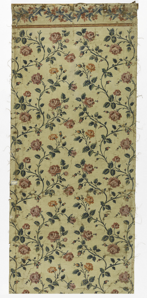 Repeating design of flowering rose branches, pink and orange, with green stems and leaves. The design terminates abruptly near top above which is a horizontal border. Painted canvas is attached to a wood strip at the top edge.