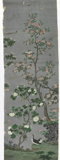 Blue-gray sky background. Different varieties of flowering trees and plants with either white or pink blossoms. A perching owl and multicolored bird. At bottom, on green ground, are rocks and two gray fowl.