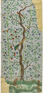 Gray sky background. Bamboo trees. Large central tree with many purple blossoms. Branches, with red fruit, growing from the left. Multi-colored birds and insects. Conventionalized green ground at bottom with flowers.