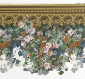 Horizontal rectangle. Brown molding along top from behind which and below which is suspended a gray trellis. This trellis is supported along its lower edge by capitals occuring in intervals which are meant to rest on the pilaster 1955-12-7. Flowering vines in profusion. Pinks, lavenders, orange, green leaves. White ground below trellis.
