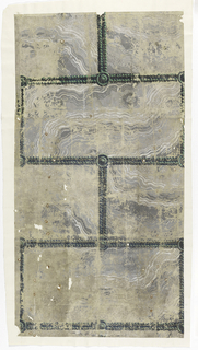 Imitation of marble or stone, gray on gray, arranged in brick or ashlar block pattern. One full rectangle to the width of the paper. Mortar covered with scrolled green bands or beading, with circular bosses at intersection.