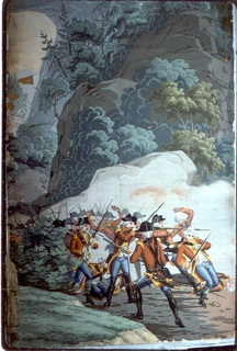"The background of ""Scenic America"" is used for scenes of the American Revolution. At the left, background, is seen the natural bridge, Virginia; in foreground, British troups are retreating, firing as they do so. Strip 25 and 26 from a set of 32."