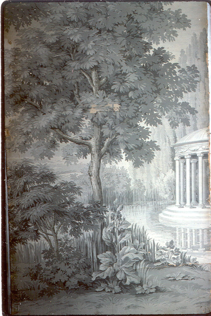 A tall tree at center. At right is seen part of a circular classical temple with steps bordering on a small lake. Strips 5 and 6 of a set of 10. Printed in grisaille and brown.